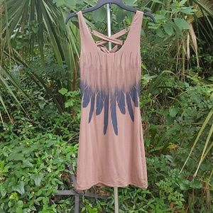 Sky dress with feather design